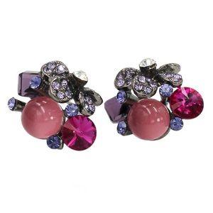 Noble purple crystal flower bead earrings